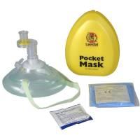 Lommemaske Laerdal med ilt-studs envejsventil og filter gul hård boks