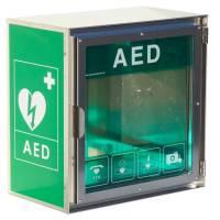 Vægskab til hjertestarter med alarm, lys, varme og blæser - udendørs brug