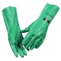 Husholdningshandske, THOR, 7, grøn, nitril, med velour, ru overflade