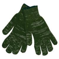 Bomuld/polyester handske, 10, grøn, bomuld/polyester, uden dotter, med lycra elastik