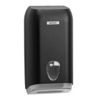 Dispenser, Katrin, 13,3x15,8x30,7cm, sort, plast, til toiletpapir i ark *Denne vare tages ikke retur*