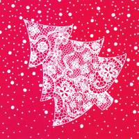 Middagsserviet, Klassisk Jul, 1/4 fold, 40x40cm, rød, airlaid
