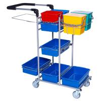 Rengøringsvogn Ergo Drypsystem komplet lille og nem at håndtere vognen er grå