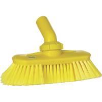 Drejeledsbørste med vandgennemløb, Vikan, 240x130x145mm, gul, PP/polyester/rustfrit stål, bløde børstehår, spaltet