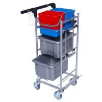 Rengøringsvogn Ergo Kompakt model med meget udstyr vognen er grå