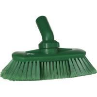 Drejeledsbørste med vandgennemløb, Vikan, 240x130x145mm, grøn, PP/polyester/rustfrit stål, bløde børstehår, spaltet
