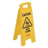 "Advarselsskilt gul 2-sidet med tekst ""Caution - Wet floor"""