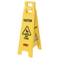 "Advarselsskilt gul 4-sidet med tekst ""Caution - Wet floor"""