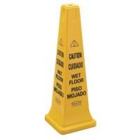 "Advarselsskilt 4-sidet med tekst ""Caution - Wet floor"" gul"