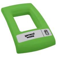"""Enviro låg med åbent indkast """"General waste"""" grøn"""