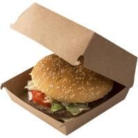 DoEco burgerboks med hængslet låg træfibre 14x14x7cm brun