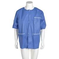 Varmejakke kortærmet jersey v/ærmer-halskrave knaplukning X-large blå