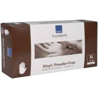 Undersøgelseshandske, Abena Excellent, XL, transparent, vinyl, pudderfri, phthalatefri