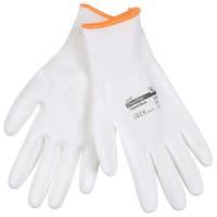 Fingerdyppet PU handske Camapur hvid Polyamid microfiberklude Str.6