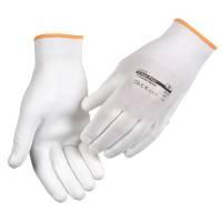 Fingerdyppet PU handske hvid Polyamid til microfiberklude Str.8