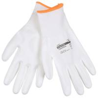 Fingerdyppet PU handske hvid Polyamid til microfiberklude Str.10