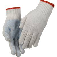 Polyesterhandske, Abena, 7, hvid, polyester/PVC, med plastdotter