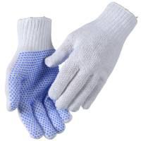 Polyesterhandske, Abena, 8, hvid, polyester/PVC, med plastdotter