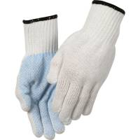Polyesterhandske, Abena, 11, hvid, polyester/PVC, med plastdotter