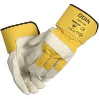 Oksehudshandske gul/hvid 7cm gummineret manchet let foret str: 8