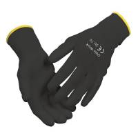 Fingerdyppet PU handske Odin work sort/grå PU bomuld halvdyppet Str.9