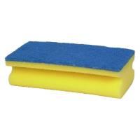 Skuresvamp, 15x7cm, blå, skum/polyether/polyester/nylon, medium skureeffekt