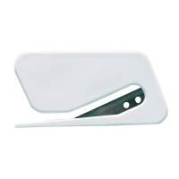 Lågfolie kniv, 7,5x4cm, hvid, plast/metal, til lågfolie