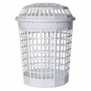 Vasketøjskurv høj med låg 60 liter hvid