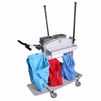 Rengøringsvogn med elektrisk pumpesystem til den store rengøring let og nem at arbejde med vognen er grå