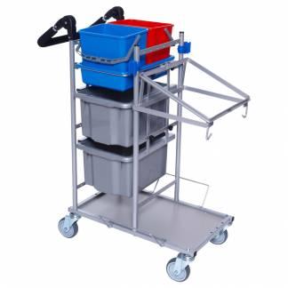 Rengøringsvogn Ergo kompakt lillemodel nem at håndtere vognen er grå