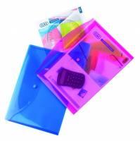 Elba dokumentkonvolutter A4 i plast med trykknap i transparente farver