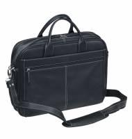 "Pierre white line computertaske 15"" i sort læder"