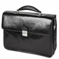 """Pierre computertaske i eksklusivt læder med brune kanter, 16"""", sort"""