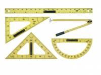 Linex BB-S tavlesæt med lineal, trekant, vinkelmåler og passer