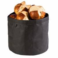 Brødpose rund Ø24x24 cm læderlook sort