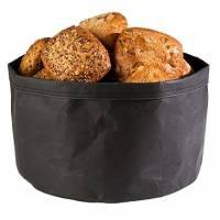 Brødpose rund Ø30x22 cm læderlook sort