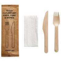 Bestikpose med kniv/gaffel/serviet af bionedbrydelig træ