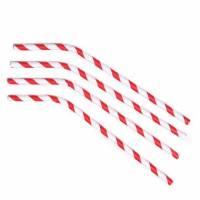 Sugerør Ø6x245mm med knæk Bionedbrydelig papir rødstribet, 500 stk
