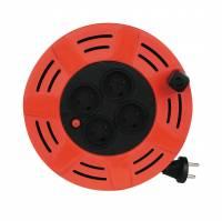 Kabeltromle DK H05W-F 10 meter 2x1,0mm2 rød og sort