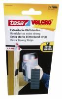 Tesa Velcro burretape ekstra stærk strips sort, 2 ruller