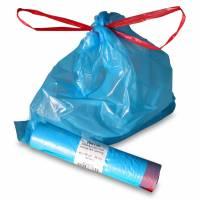 Affaldsposer med snortræk lukning 20liter 25my blå