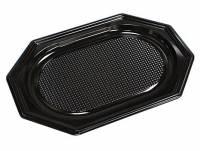 Cateringfad sort plast 35x25cm oval 10x10stk/kar A-PET lille