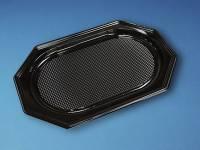 Cateringfad sort plast 45x30cm oval 10x10stk/kar A-PET mellem