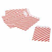 Konfektpose 100x155mm 40g rød og hvid strib, 1000 stk