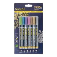 Securit Chalkmarker 1-2mm metallic farver, pakke a 7 stk