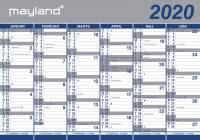 Mayland vægkalender 2x6mdr rør papir 100x70cm 20064000