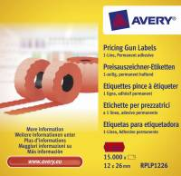 Avery prisetiketter til Single Line 26x12mm rød