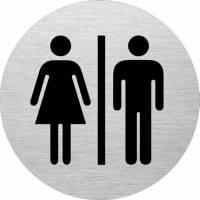 Skilt Dame & Herre toilet Ø:75mm aluminium