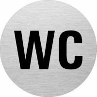 Skilt WC alu med sort skrift Ø75mm