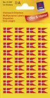Avery etiket med dansk flag 9x16mm, 144 stk